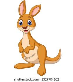 Cartoon Happy Kangaroo isolated on white background