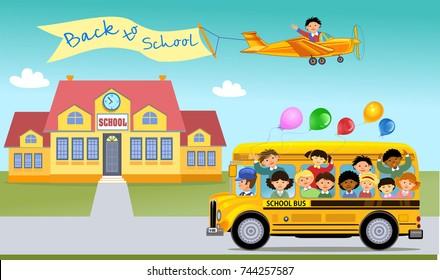 Cartoon of happy school children & Rainbow