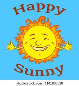 Cartoon Happy Smiling Sun on Blue Sky Background.