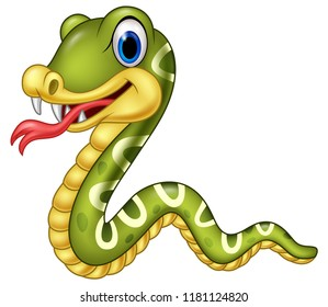 Cartoon happy snake isolated on white background