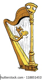 A cartoon  harp playing itself.