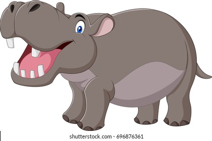 Cartoon Hippo with open mouth