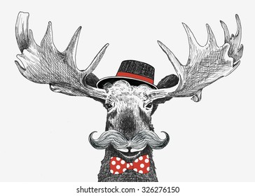 cartoon hipster moose with large handlebar mustache, cool hat and red bow tie with polka dots, funny boyfriend or wedding groom animal, hand drawn humorous holiday sketch illustration