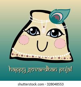 Cartoon holy Hindu mountain Govardhan with peacock feather. Greeting card. Happy Govardhan puja.