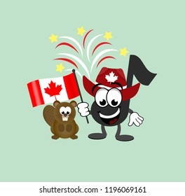 Cartoon horse and beaver celebrating Canada Day wearing a cowboy hat with a maple leaf on it,  and waving a Canadian flag with fireworks in the background.