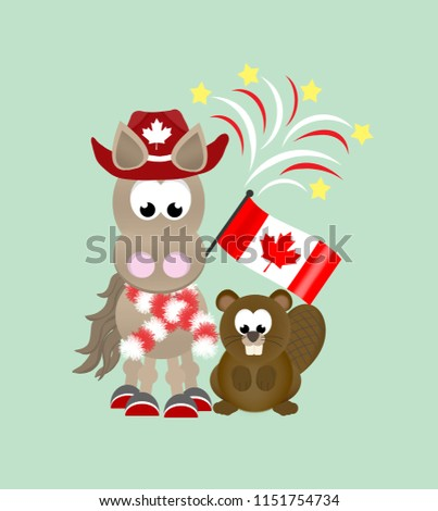 Cartoon horse and beaver celebrating Canada Day wearing a cowboy hat and striped scarf, and holding an Canadian flag with fireworks in the background.