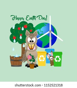 Cartoon horse with a butterfly on it's nose celebrating Earth Day, standing next to a tree, rain barrel, potted flower, recycling bins, and wind turbine.