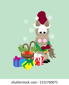 Cartoon horse celebrating christmas,  wearing a santa hat and wreath standing next to a pile of presents, and a bucket of carrots, apples, and candy canes, with snow falling in the background.