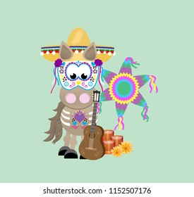 Cartoon horse celebrating the Day of the Dead,  wearing a sombrero and decorative mask standing next to a guitar, candles, flowers and pinata.