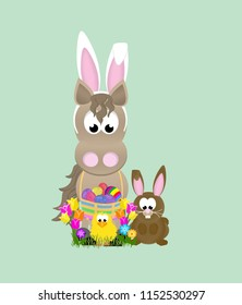 Cartoon horse celebrating easter wearing bunny ears and holding a basket full of decorated eggs, next to a rabbit and baby chick, surrounded by tulips.