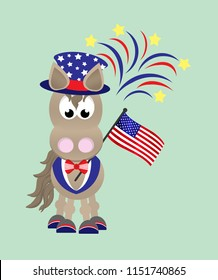 Cartoon horse celebrating the Fourth of July wearing top hat and tuxedo, and holding an American flag with fireworks in the background.