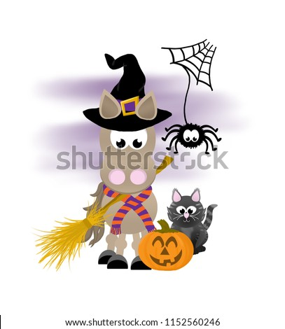 Cartoon horse celebrating halloween wearing a witch's hat and striped scarf, holding a broom and standing next to a pumpkin, black cat and spider.