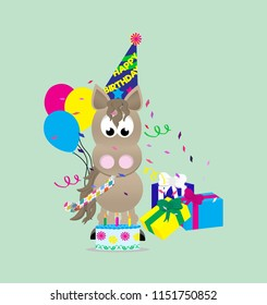 Cartoon horse celebrating a happy birthday,  wearing a birthday hat and blowing a noise maker, next to a pile of presents and holding an American flag with fireworks in the background.
