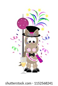 Cartoon horse celebrating New Year's Eve wearing a top hat, bow tie, and sash, blowing a noise maker, with a big ball, fireworks, and confetti in the background.