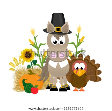 Cartoon horse celebrating thanksgiving,  wearing a pilgrim's hat and collar, with buckles on it's hooves, standing next to a turkey, pumpkin, gourd, apple, corn, hay bale and sunflowers.