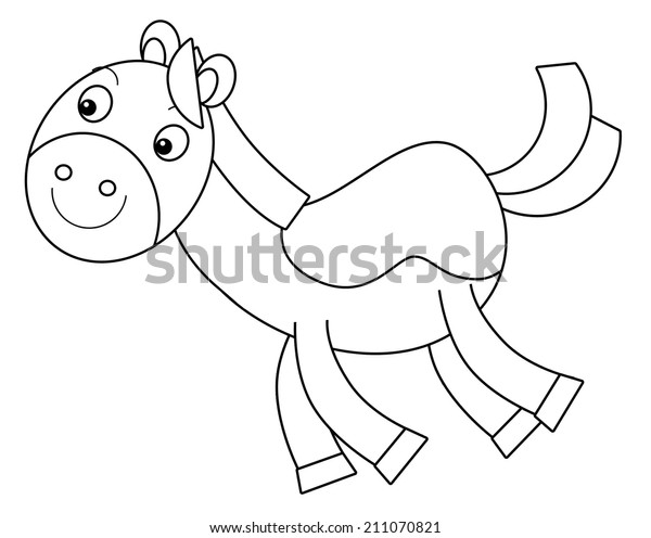 Cartoon Horse Coloring Page Illustration Children Stock ...