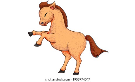 Cartoon Horse Drawing. cute animal oil pastel drawing crayon doodle for children book illustration, poster, or wall painting.
