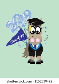Cartoon horse graduate wearing glasses, and a cap and gown, and holding 2019 balloons and a pennant flag .