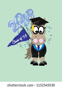 Cartoon horse graduate wearing glasses, and a cap and gown, and holding 2018 balloons and a pennant flag.