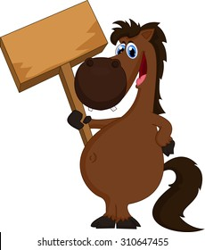 cartoon horse holding blank sign