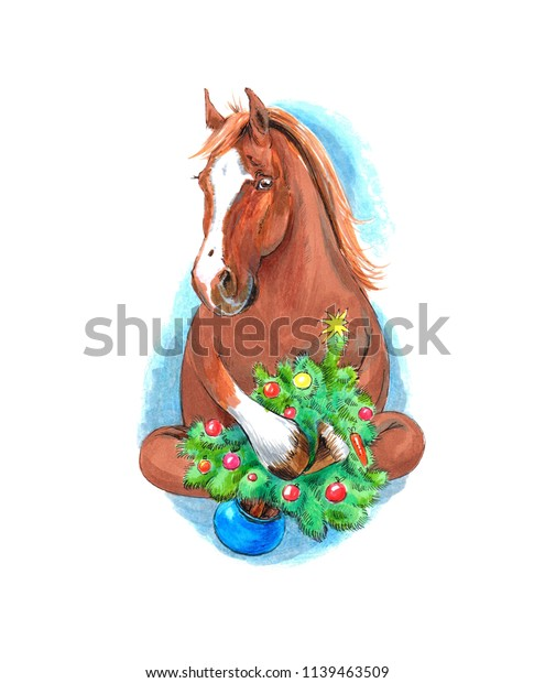 Christmas Horse Cartoon.Cartoon Horse Hugging Christmas Tree Cute Stock Illustration