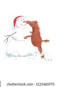 Cartoon Horse Pulling Out a Snowman's Carrot Nose. Funny Animal Illustration in Hand Painted Watercolor. Perfect for Card, Greeting Card, Poster, and Children Illustration and Decoration.