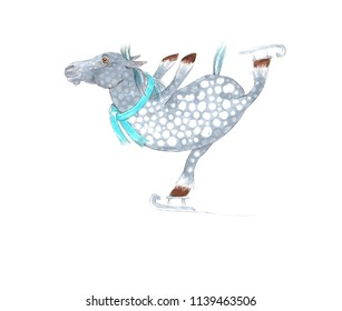 Cartoon Horse Skating on Ice. Cute Horse Character for Cards, Posters, Invitations, and Various Decoration and Printable.