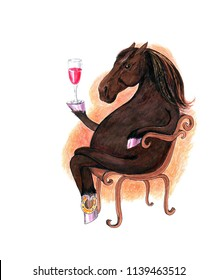 Cartoon Horse with a Wine Goblet. Horse Character for Cards, Posters, Invitations, and Various Decoration and Printable.