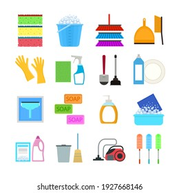 Cartoon Household Cleaning Signs Icon Set Include of Brush, Sponge, Bottle, Glove, Bucket and Detergent. illustration of Icons