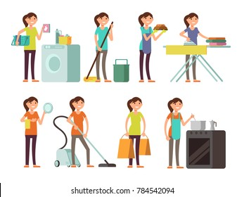 Cartoon housewife in housework activity set. Happy woman performing household. Housewife female person illustration