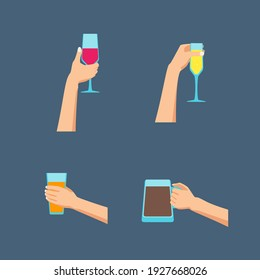Cartoon Human Hands Holding Glasses Set Celebration of Holiday Concept Flat Design Style for Bar. illustration of Hand Hold Glass
