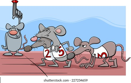 Cartoon Humor Concept Illustration of Rat Race Saying or Proverb