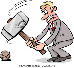Cartoon Humor Concept Illustration of Sledgehammer to Crack a Nut Saying or Proverb