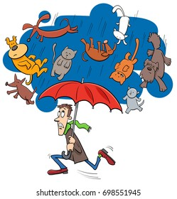 Cartoon Humorous Concept Illustration of Raining Cats and Dogs Saying or Proverb