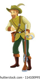 Cartoon hunter standing and smiling - some activity - illustration for children