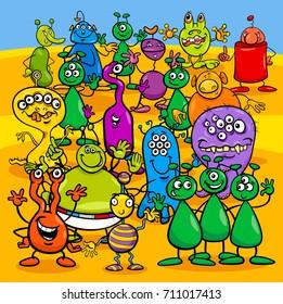 Cartoon Illustration of Aliens Fantasy Characters Group