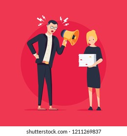 Cartoon illustration of angry boss and frightened employee. Man standing near the table, woman bring pile of papers. Office work stress bullying and anger, harrassment concept. Job Intimidation