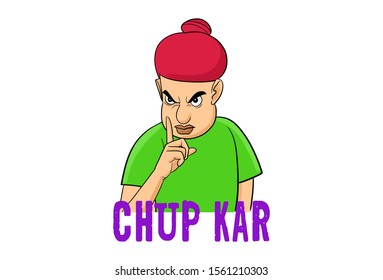 Cartoon illustration of angry boy. Lettering text chup kar Hindi text translation- keep quiet. Isolated on white background.