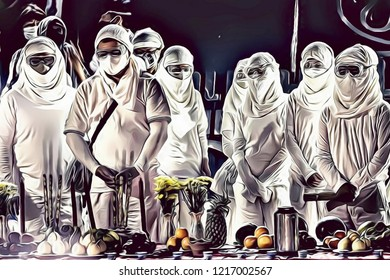 Cartoon illustration of apocalyptic scene with people wearing white uniform and mask, Apocalyptic High Mass celebration concept, religious cult