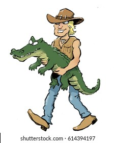cartoon illustration of an Australian man carrying a crocodile