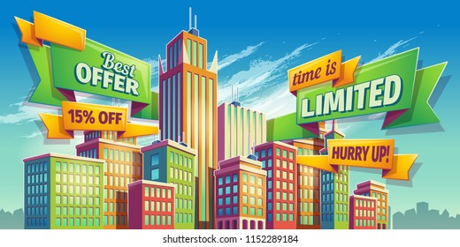 cartoon illustration, banner, urban background with modern big city buildings, skyscrapers, business centers and space for your text. Advertising banner for real estate agency