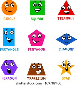 Cartoon Illustration of Basic Geometric Shapes Comic Characters with Captions for Children Education