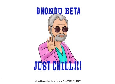 Cartoon illustration of beard man. Lettering text dhondu beta just chill. Hindi translation- son just chill. Isolated on white background.