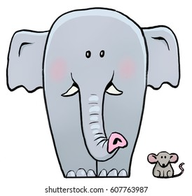 A cartoon illustration of a big grey elephant standing next to a tiny brown mouse