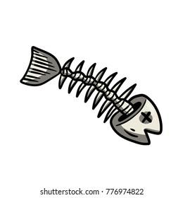 Cartoon illustration - bone dead fish