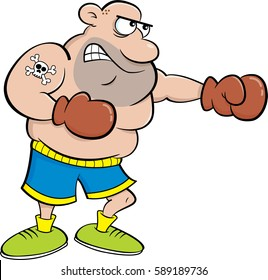 Cartoon illustration of a boxer punching.