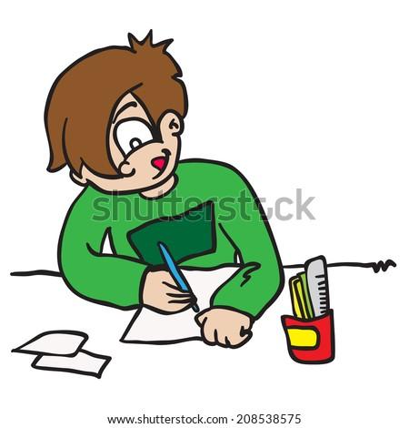Royalty Free Stock Illustration Of Cartoon Illustration Boy Writing