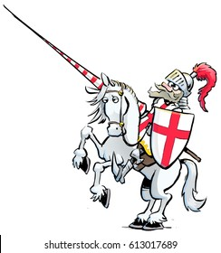 Cartoon Illustration of the brave old knight Saint George, in shining armor, riding a white horse, carrying a lance. St. George is the patron saint of England, he has a red cross on his shield
