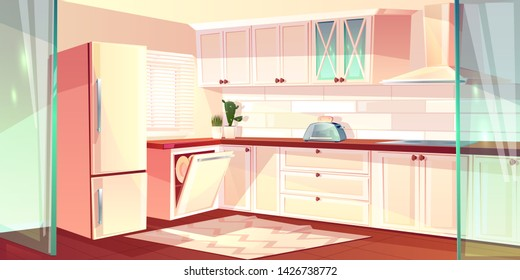 cartoon illustration of bright kitchen in white color. Fridge, oven and exhaust hood in cooking room. Carpet on wooden floor, glass doors. Cupboard and dishwasher in corner.