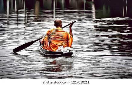 Cartoon illustration of Buddhist monk in small boat sailing in canal, Thailand monk way of life